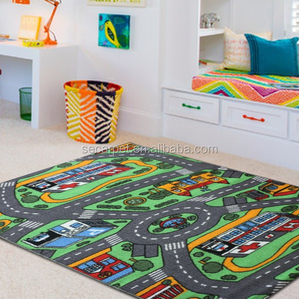 anti slip printed children roadmap street mat carpet