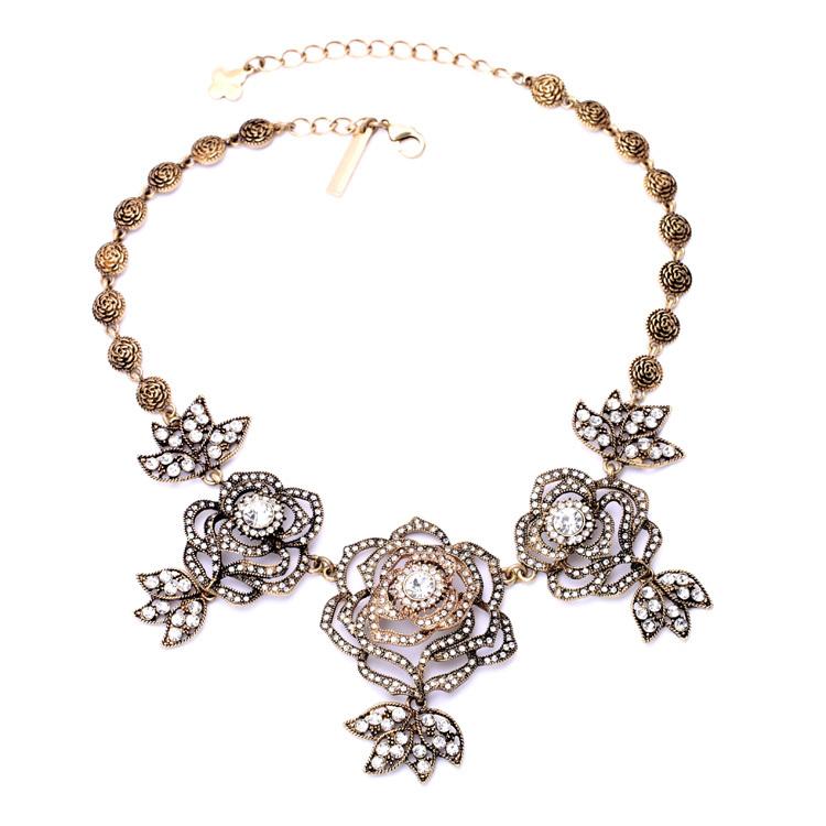 Cadenas De Oro Italiano 14k: Cadena De Oro Antiguo Plateado 2016 Rosa De Piedra Collar