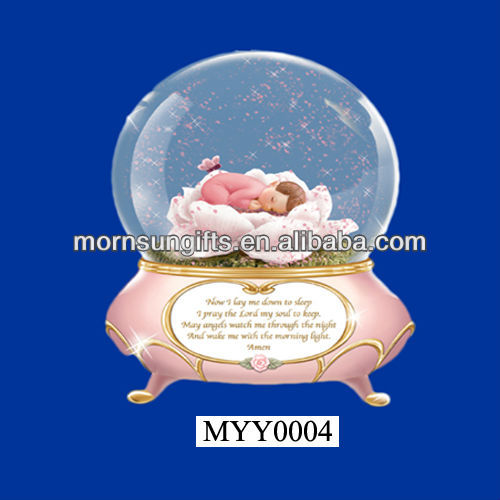 Baby Bedtime Prayer Pink Snow Globe