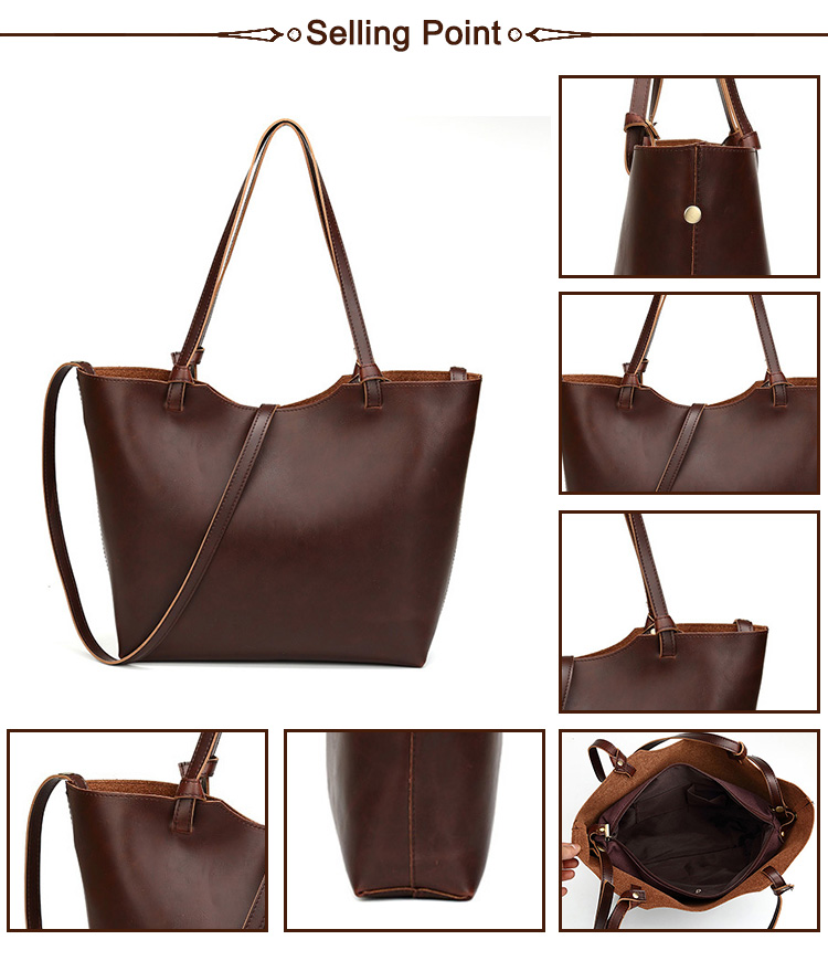 2019 China Suppliers Best Price Tote Shoulder Crazy Horse PU Leather Woman Hand Bag