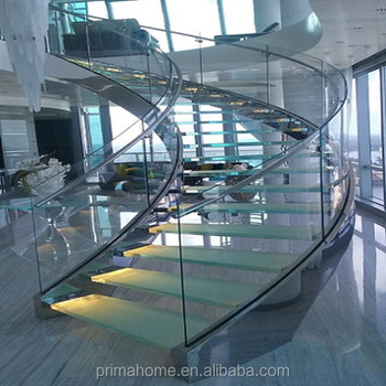 Curved Glass Staircase With Frameless Glass Railing Stair Stainless Steel  Handrail