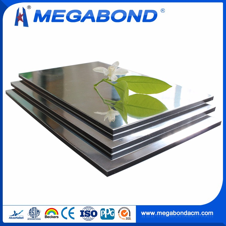 Megabond CE Standard Best Quality silver mirror alucobond acp cladding