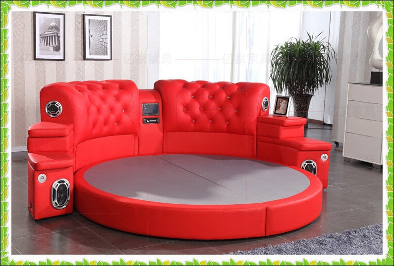 red round bed genuine cow leather wedding bed hot selling in beds from furniture on aliexpress. Black Bedroom Furniture Sets. Home Design Ideas