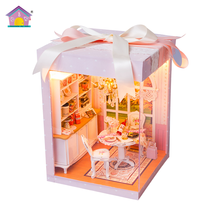 Hot sale new with light and furniture DIY dolls house innovative gifts