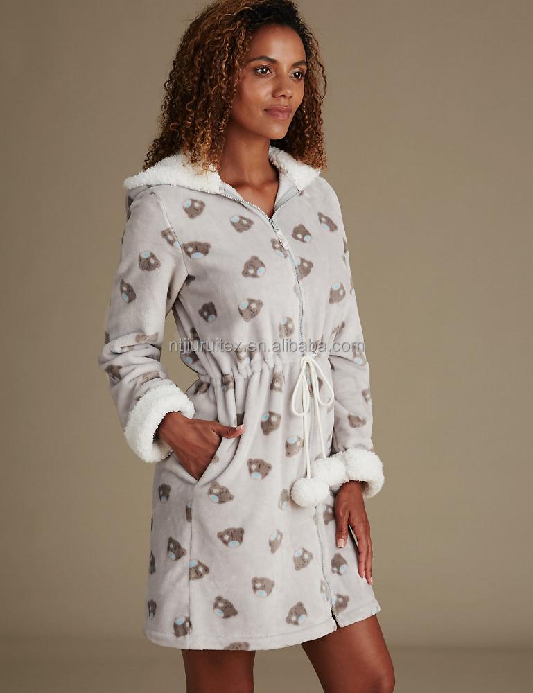 Femmes polaire en peluche chemise de nuit avec avant - Robe de chambre fermeture eclair femme ...