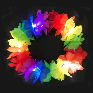 Hawaii Flower Lei Party Supply Led Light Up Flower Headband For Girls