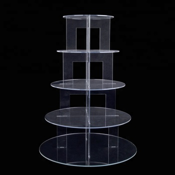 5 Tier Round Shape Acrylic Wedding Cupcake Stand Clear Wholesale Plexiglass Cupcake Display Stand