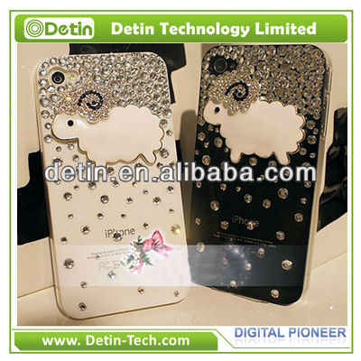 Wholesale DIY bling sheep pattern design your own rhinestone cell phone cases for iphone 4/4s