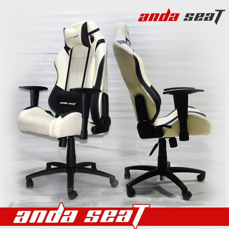 RACING CAR SEAT OFFICE COMPUTER CHAIR ADJUSTABLE WHITE BLACK PVC LEATHER SPO