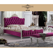 king queen size pink color solid wood fabric bed,