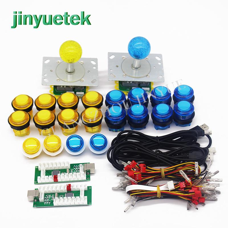 Jinyuetek custom sanwa arcade buttons Kit and joysticks, Red yellow green blue white black