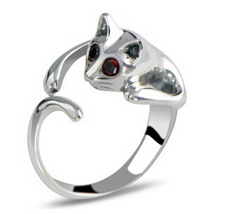 Silver Plated Kitten Cat Ring With Crystal Eyes Gift Women's Jewelry