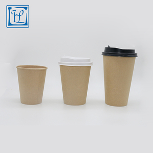 Customer drinking take away hot beverage use disposable kraft paper cup