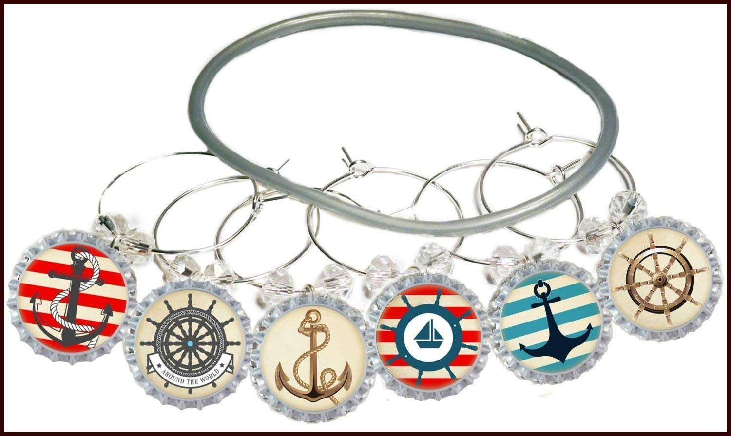 Nautical Wine Charms - Independence Day Glass Tag Identifiers, Nautical Party Supply Glass Markers - Anchor, Boat, 8 wine charms