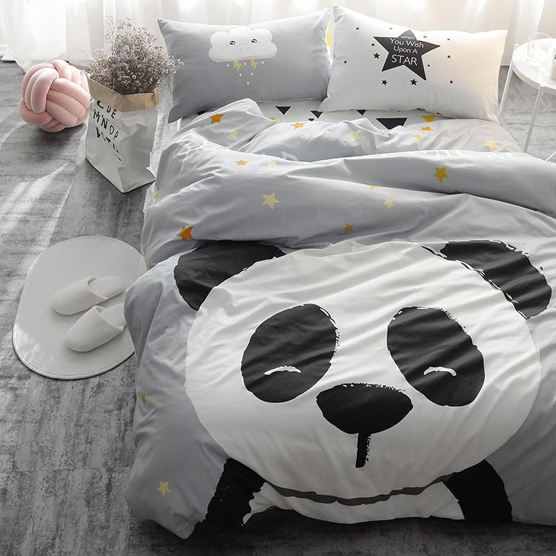 c1ea59bbae15e7 Großhandel Panda Fuchs Bettwäsche Set Schwarz Und Weiß Bettbezug ...