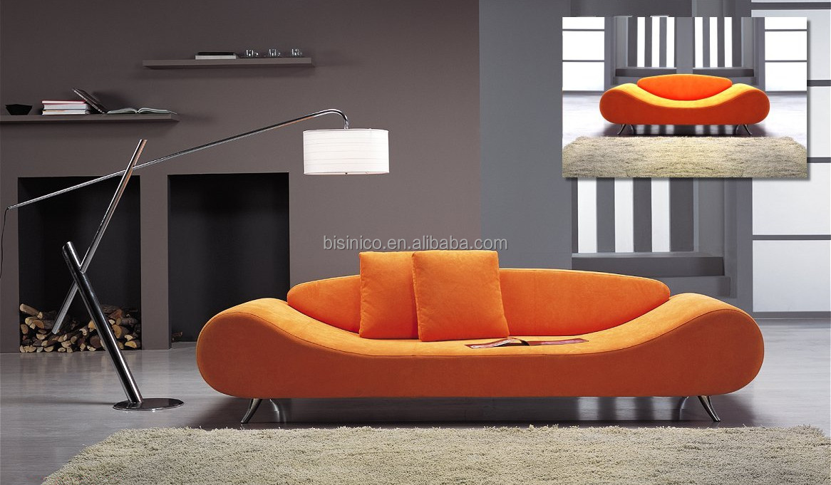 Country Fashion Style 3 Seater Sofa Bed Day Pouffe Settee Bright Orange Color Ornate Living Room Furniture Modern