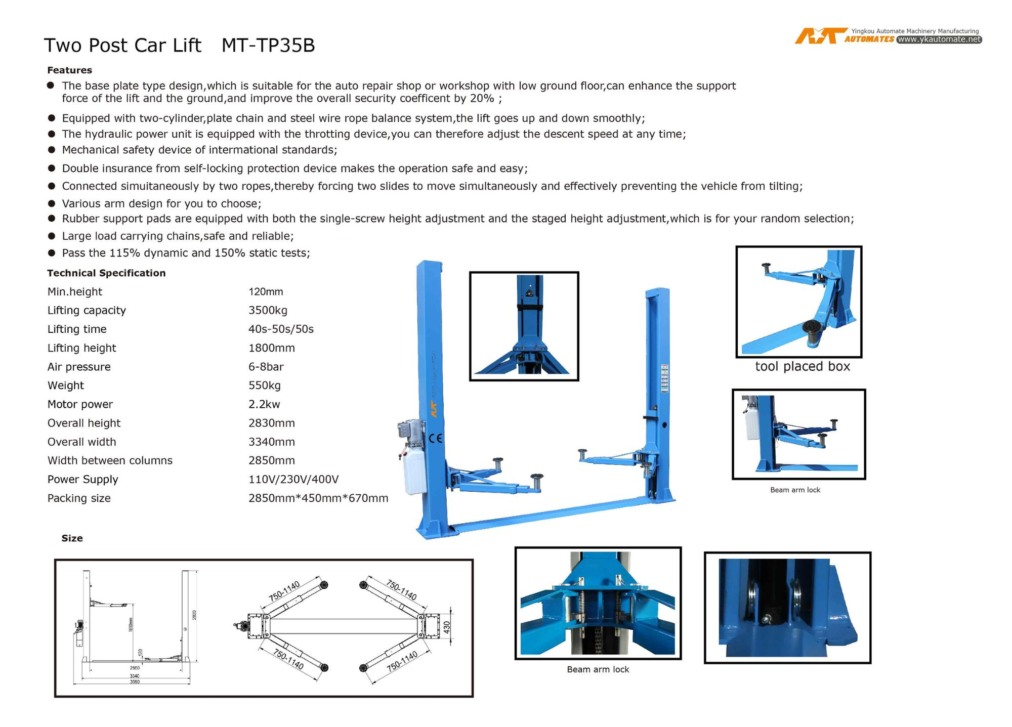 MT Manual release floor plate 2 post car lift with CE MT-TP35B