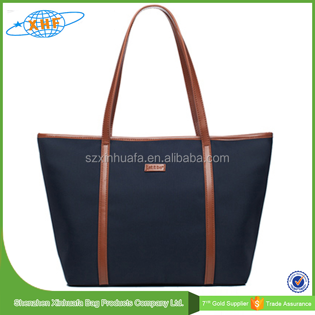 2015 Alibaba China Top Quality Cheaper Canvas Tote Bag Leather Handle