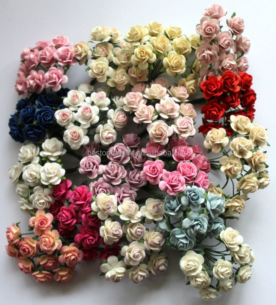 15mm Mulberry Paper Rose Flowers With Wire Stems For Card Making