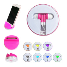 Competitive price multi-purpose round shaped abs plastic case earbud touch pen tabletop cell phone holder