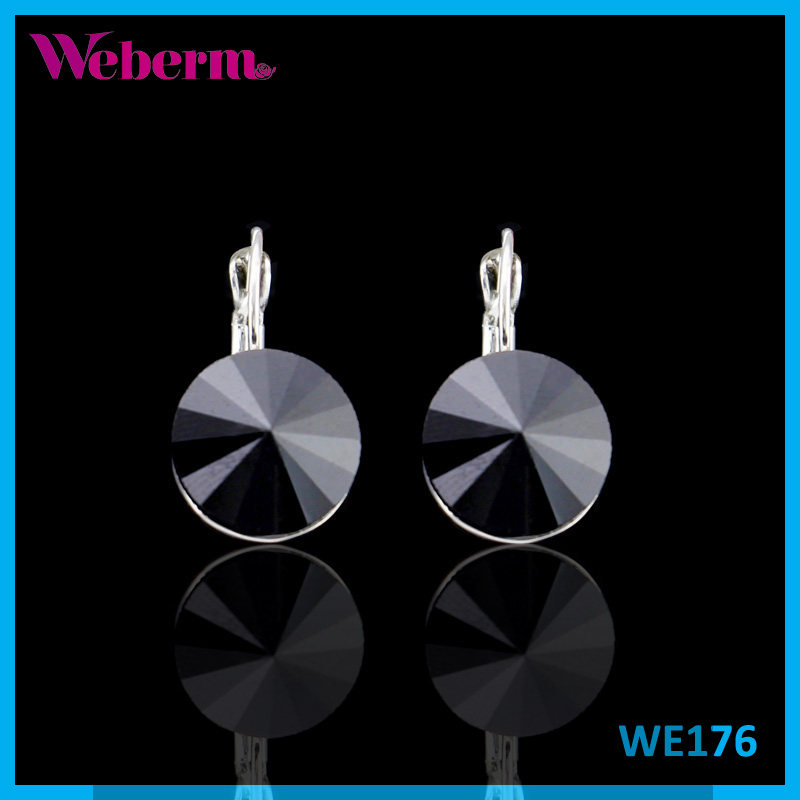 Fashion Tiny Jewelry Small Silver Plated Round Jet Black Crystal Earrings