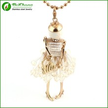 White bead doll pendant necklace french superstar accessories jewelry