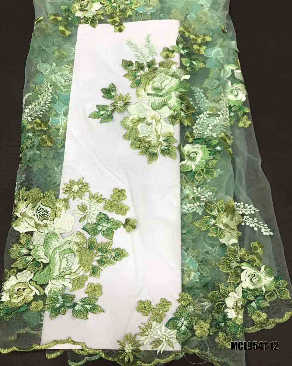3d flower lace embroidered fabric french net chiffon floral with beads elegent beaded