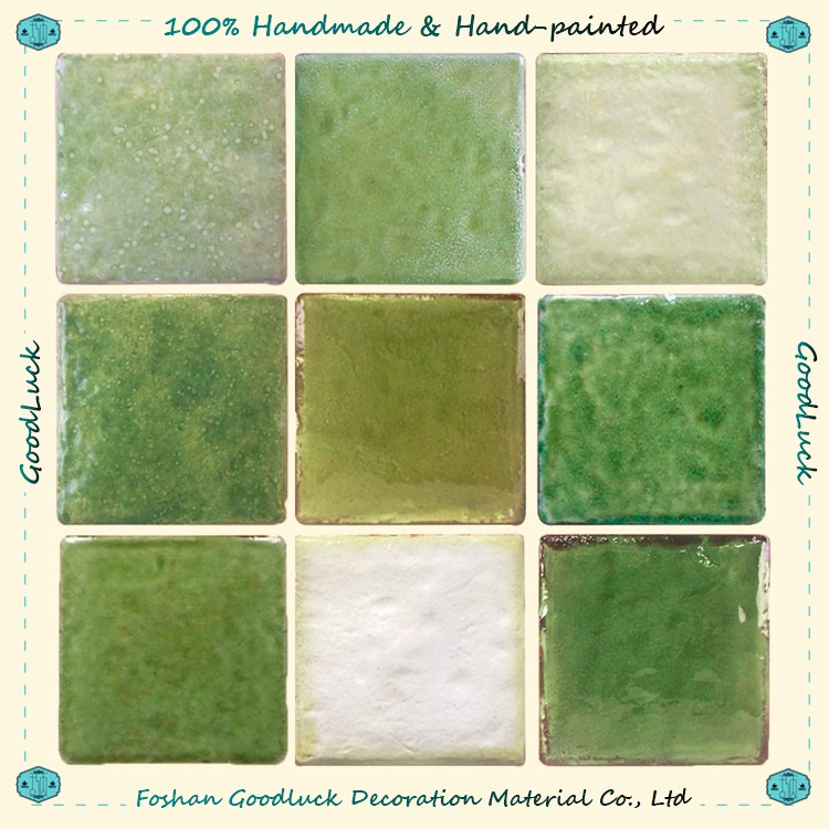 Durable Handmade Green Jade Glazed 8X8 Ceramic Tile