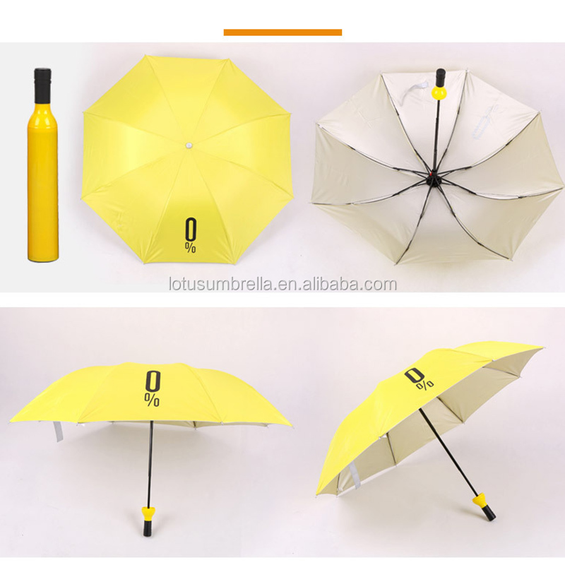 Creative Women Wine Bottle Umbrella 3 Folding Sun-rain UV Mini Umbrella For Women Men Gifts Rain Gear Umbrella