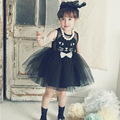 2015 Flower Cotton Lace Girls Dress Kitty Kids Casual Hot Summer Party Dress for Girls Cat