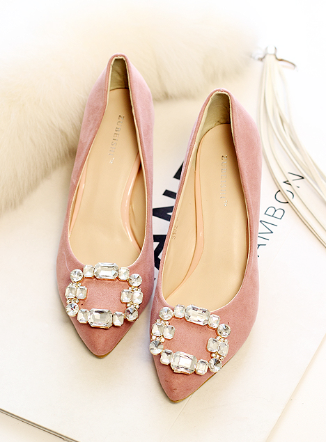 Fashion personality crystal rhinestone shallow mouth pointed toe comfortable velvet elegant single shoes girl high-heeled shoes