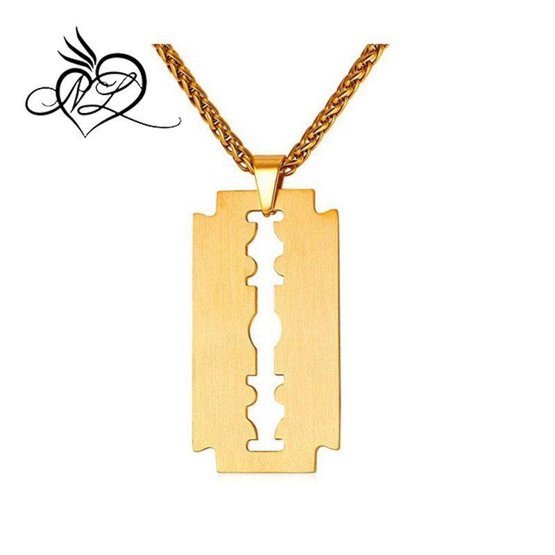 Men Cool Necklace Stainless Steel/Black Gun Plated/18K Gold Plated Razor Blade Pendant, With 22 Inch Chain