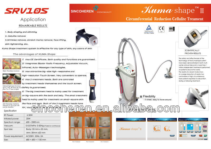 fat removal massage machine 2013 new technology Kuma shape II fat killer slimming body weight loss medical beauty equipment Vacu