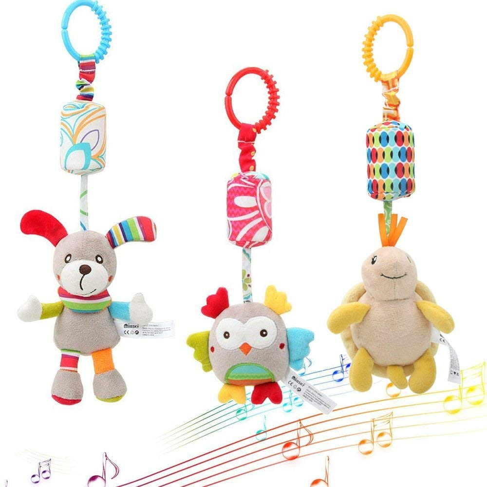 Daisy 3 Packs Infant Hanging Rattle, Soft Baby Wind Chimes handbell Toy, Stroller Car Seat Crib Hanging Toy for Baby Toddler Boys and Girls, Educational Development Gift - (Puppy, Owl, Tortoise)