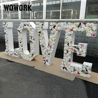 2020 WOWORK solide 3D outdoor wedding decoration giant flower love letters for party stage props