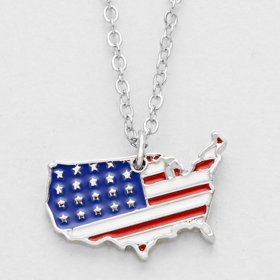 necklace product white sterling silver wood blue red flag usa heart american