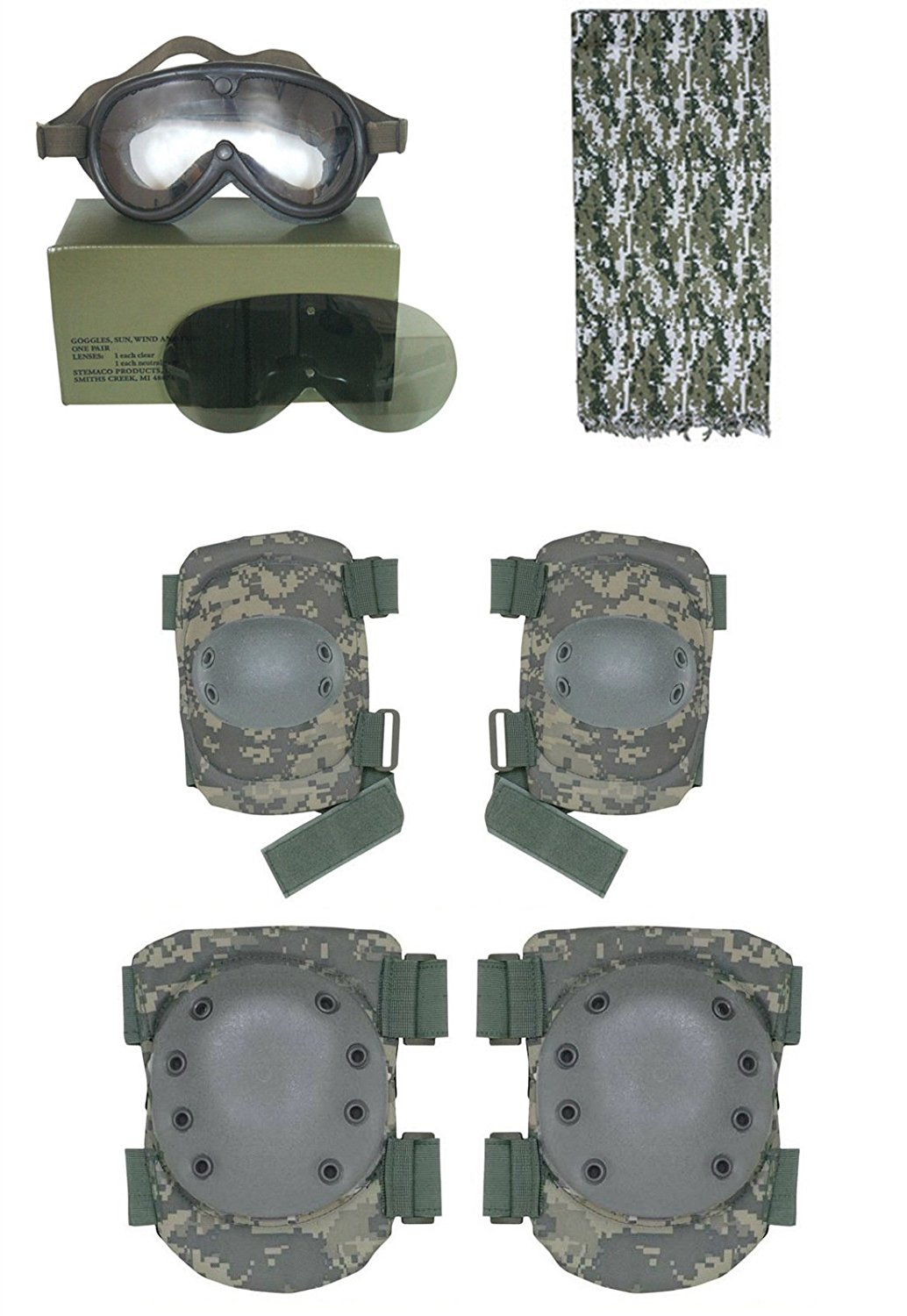 Tactical ACU Digital Shemagh + Ultimate Arms Gear Sun, Dust and Wind Goggles + ACU Digital Camo Hard Elbow and Knee Pads