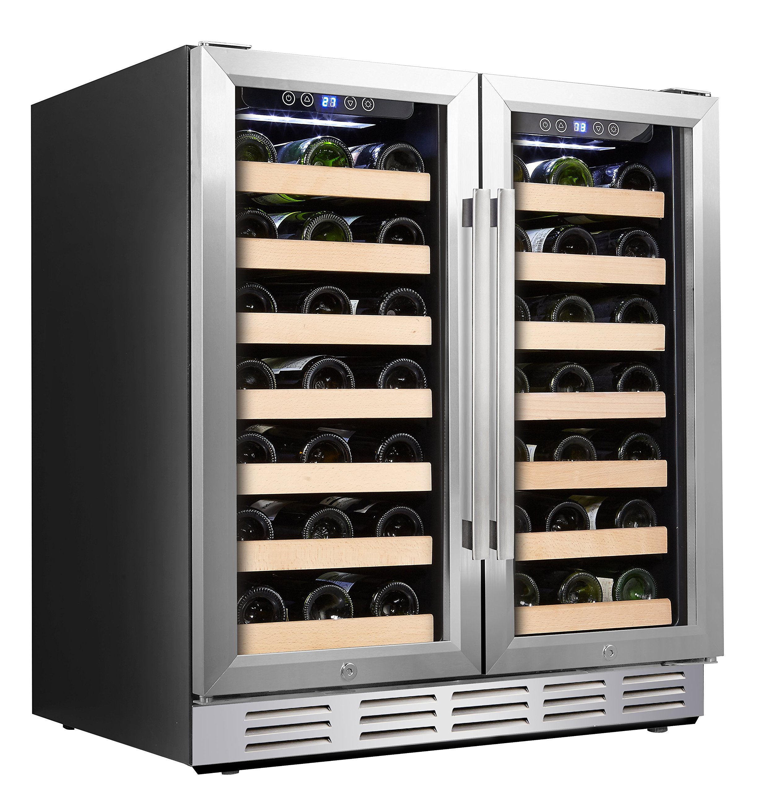 Kalamera 30'' Wine Cooler 66 Bottle Dual Zone Built-in and Freestanding with Stainless Steel and Glass French-Door Style