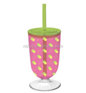 Personalized Double Wall Acrylic Iced Tea Tumbler With Straw, 18ounce Insulated plastic iced tumbler Straw wine glass with lid