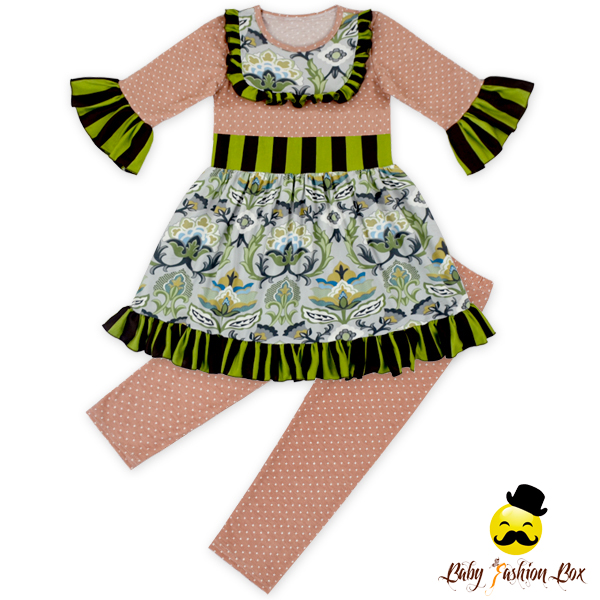66TQZ461 Yihong Hot-sale Children Clothing Set Baby Girl Printing Wave Point Set Boutique Design Salwar Suit