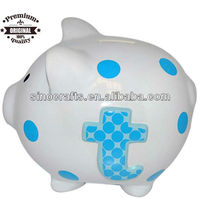 Baby Boy Blue Initial Ceramic Polka Dot Piggy Bank