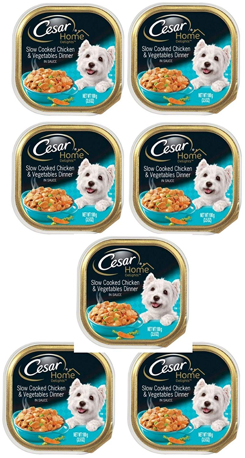 Delicious CESAR HOME DELIGHTS Slow Cooked Chicken & Vegetables Dinner Dog Food Trays 3.5 oz, (7 pack)