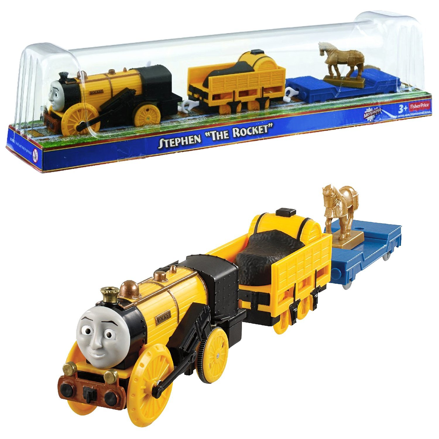 """Fisher Price Year 2013 Thomas and Friends As Seen On """"King of the Railway"""" DVD Series Trackmaster Motorized Railway Battery Powered Tank Engine 3 Pack Train Set - STEPHEN """"THE ROCKET"""" with 1 Open-Top Carriage Car and 1 Flat-Bed Car with Horse Statue"""
