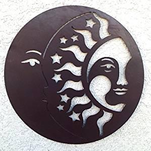 LTD - World Best Rustic Sun Moon & Stars Metal Wall Hanging Garden Art 24 Inches