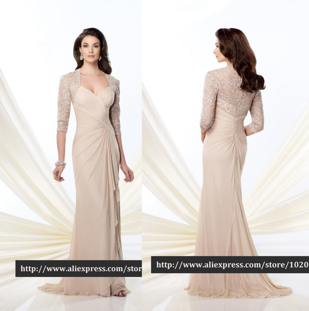 8ca4a46af47 Get Quotations · Gorgeous Lace Three Quarter Sleeve Pleated Chiffon Mother  of the Bride Dresses Evening Dress Event Dresses