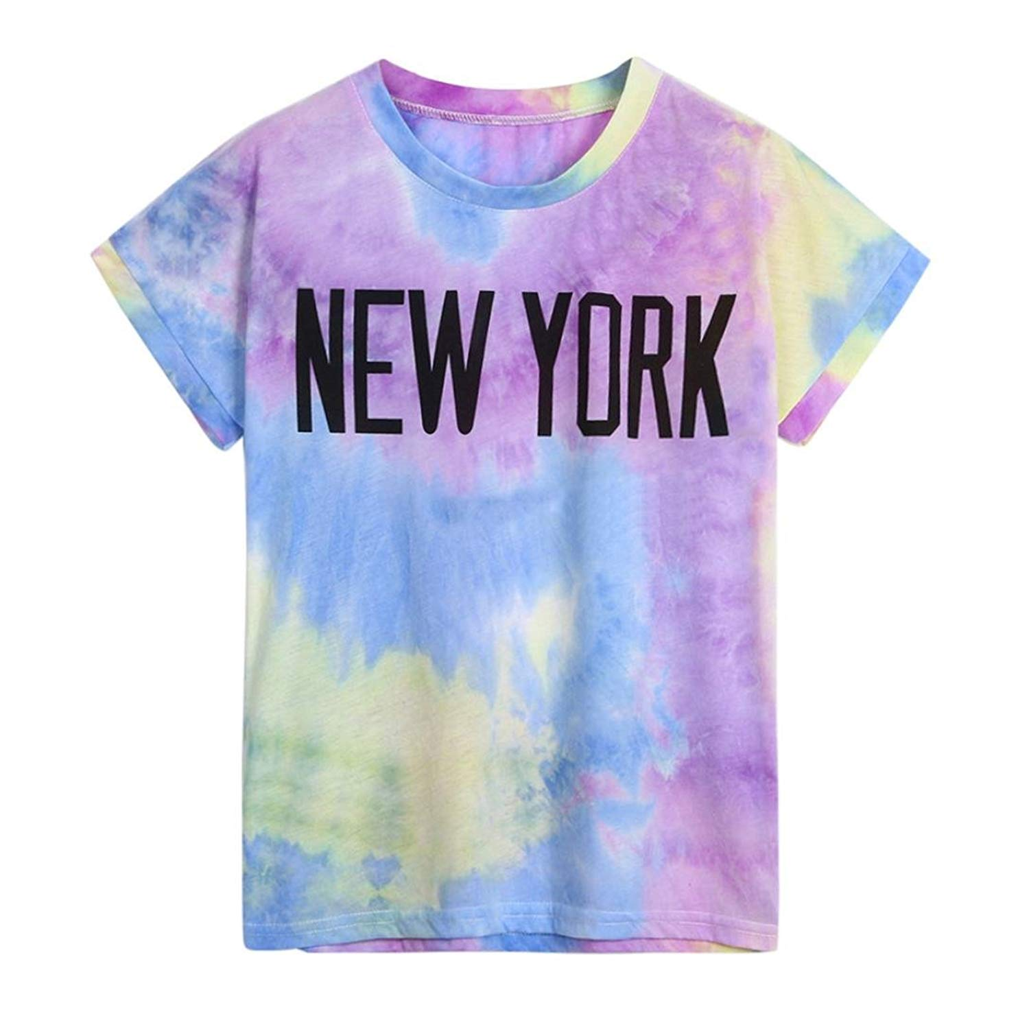 Gyoume Women Printed Letters Tops Summer Short Sleeved Blouse O-Neck T-Shirt Casual Colorful Lady Summer Tee
