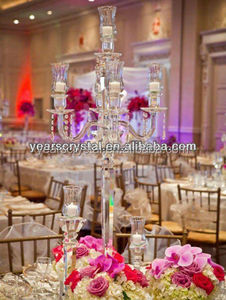 High quality cheap wedding crystal candelabra for sale with 5 arms