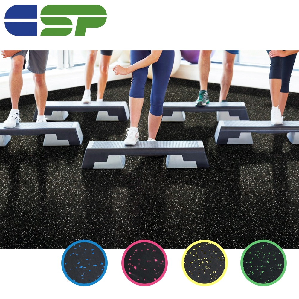 Shock absorbing noise reduction rubber flooring crossfit rubber gym flooring