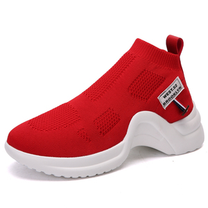 Wholesale In Stock Fashion Women Trainer Knitting Sport Sneaker Ankle Socks Boots Slip On Shoes College