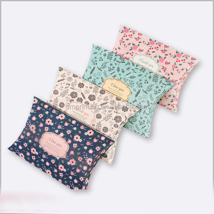 New design cute packaging pillow box with flower printing